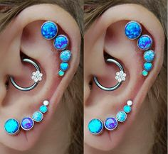 Back in Stock - Baby Blue Opal Ear Piercing Studs at MyBodiArt for Forward Helix Piercings, Tragus Piercings, Cartilage Piercings