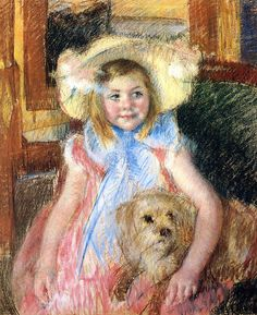 Sara in a Large Flowered Hat Looking Right Holding Her Dog 1901   Mary Cassatt   Oil Painting