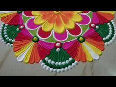 महालक्ष्मी पूजा आकर्षक , सुंदर रंगोली   rangoli design   by Sangeeta   Diwali rangoli - YouTube Easy Rangoli Designs Diwali, Rangoli Designs Latest, Rangoli Designs Flower, Rangoli Patterns, Colorful Rangoli Designs, Beautiful Rangoli Designs, Simple Diwali Rangoli, Easy Rangoli Designs Videos, Simple Rangoli Border Designs