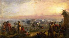 DEPARTURE OF THE FUR CARAVAN AT SUNRISE, by Alfred Jacob Miller