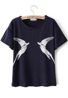 Navy Blue Animal Print Straight Cotton Blend T-Shirt