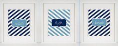 Nautical Wash, Flush, Brush  (3)  5x7 Chevron Bathroom Artwork Navy Blue