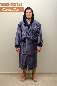 Мужской халат Nusa 7080 хлопок серо-синий купить в интернет магазине Постель Маркет (Киев, Украина)