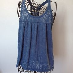 "Aeropostale Blue tank top Gently worn, racer back, loose fitting, blue tank top. See through type pattern. Length from shoulders is 24"". Side to side at arms is 17"". Hem width is 39"". Aeropostale Tops Tank Tops"