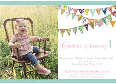 VINTAGE FABRIC PENNANT 1ST BIRTHDAY PARTY