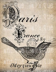 Antique French Bird Postmarks Paris France Digital Download for Papercrafts, Transfer, Pillows, etc.Burlap No 2909 via Etsy