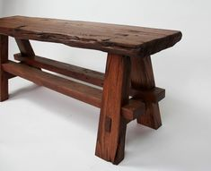 Rustic Wooden Bench, Reclaimed Wood Benches, Rustic Wood Furniture, Live Edge Furniture, Bench Furniture, Wooden Stools, Tree Furniture, Accent Furniture, Garden Furniture