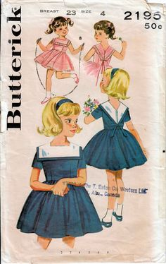 1960s Butterick 2195 Vintage Sewing Pattern Girl's Party Dress, Full Skirt Dress Size 4 by midvalecottage on Etsy