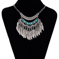 HPLeaf Tassel Necklace & Earring Set Leaf Tassel Necklace W/Earrings Jewelry Necklaces