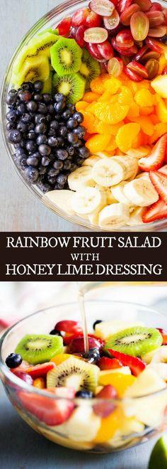 RAINBOW FRUIT SALAD WITH HONEY LIME DRESSING #iamhomesteader