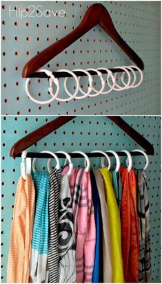 Instead of devoting a hanger to each of your scarfs (or worse, knotting multiples on one and causing major wrinkles), use shower rings to create individual holders for your entire collection. Click th (Diy Closet)