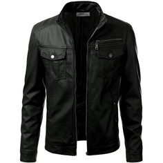 IDARBI Mens Leather Look Motorcycle Rider Bomber Jacket ($40) ❤ liked on Polyvore featuring mens, men's clothing, men's outerwear, men's jackets, jackets and men