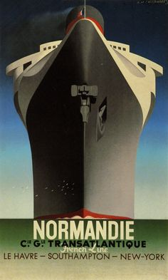 example of art deco: More details This is a poster for SS Normandie. The poster art copyright is believed to belong to Compagnie Générale Transatlantique. Further details: SS Normandie poster by Adolphe Mouron Cassandra (wikipedia) Retro Poster, Art Deco Posters, Poster S, Vintage Travel Posters, Cool Posters, Print Poster, Hanging Posters, Design Posters, Arte Art Deco
