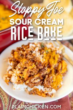 Sloppy Joe Sour Cream Rice Bake – easy weeknight ground beef casserole ready in under 30 minutes! Rice, sour cream, cottage cheese topped with a quick homemade sloppy joe meat sauce and cheddar chees Easy Ground Beef Casseroles, Ground Beef Recipes Easy, Rice Dishes, Food Dishes, Main Dishes, Creamed Rice, Sloppy Joe Casserole, Homemade Sloppy Joes, Baked Asparagus