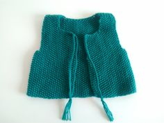 Sleeveless vest in rice stitch - Knitting 01 Diy Tricot Gilet, Tricot Baby, Knitting For Kids, Baby Knitting, Bebe Baby, Knit Vest, Cute Crochet, Crochet Clothes, Couture
