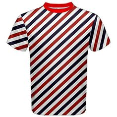 CowCow Red Barber Pole Pattern Barber Texture Men's Sport Mesh Tee, Red-2XL - Brought to you by Avarsha.com