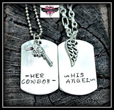 His Angel  Her cowboy Couples Necklace Set  by CatsCustomCreations, $25.00