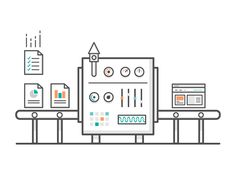 Machine designed by Carla Corrales for Aerolab. Connect with them on Dribbble; Machine Design, Flat Illustration, Motion Design, Drawing People, Line Design, Motion Graphics, Line Art, Character Design, Apps