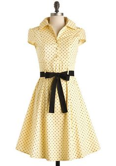 Oh come on, how cute is THAT! Lemon cream and black polka dot A-line dress! Fun for a 50's inspired partay! $49.99