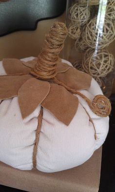 Fabric pumpkin - love the twine stem!