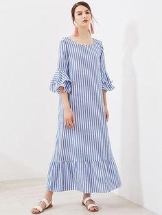 Romwe Layered Bell Sleeve Striped Kaftan DressXS