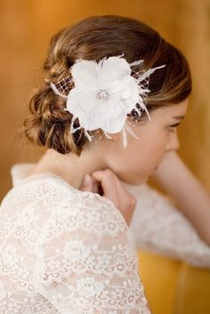 Bridal hair flower, feather hair piece, bridal hair peice, wedding head piece, fascinator, MAY, Made To Order,1 MONTH TURNAROUND. $134.00, via Etsy.