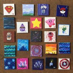 CUSTOM Tiny Paintings/Miniature Acrylic Paintings/Custom Mini Artwork/Little Paintings Small Canvas Paintings, Easy Canvas Art, Small Canvas Art, Cute Paintings, Simple Acrylic Paintings, Mini Canvas Art, Diy Canvas, Mini Toile, Posca Art