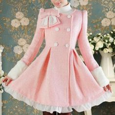 Vintage Long Sleeves Double Breasted Flounce Bowknot Wool Coat For Women