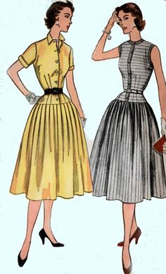 1950s Dress with Fitted Dropped Waist Simplicity 3844 Vintage 50s ROCKABILLY Sewing Pattern Size 14 UNCUT by sandritocat on Etsy