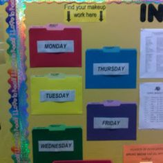 This procedure would be good to use in my classroom whenever my students have been absent. I would explain to them that whenever they miss a day of school, they can come back the next day and go to the proper folder (the folders are organized by days of the week) to pick up the work they missed. BG
