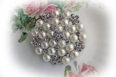 New Listing~Reneabouquets Trinket- Large Silver Elegance Pearl & Rhinestone Brooch, 2.25 inch~  Find all of your Reneabouquets Items here: http://www.Reneabouquets.com or here: https://www.etsy.com/shop/Reneabouquets