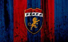 Download wallpapers FC Plaza Amador, 4k, grunge, Liga Panamena, logo, football club, Panama, Plaza Amador, soccer, LPF, stone texture, Plaza Amador FC