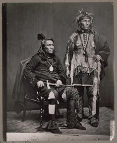 Chief Crane of the Potawatomi, holding tomahawk and with unidentified Native American man in a delegation to Washington, D.C, in 1860 Native American Images, Native American Tribes, Native American History, Native Americans, Jefe Seattle, Into The West, Indian Pictures, Navajo, Native Indian