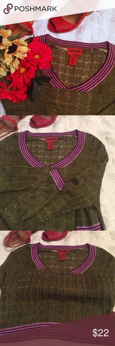 Mission for target top Gorgeous in excellent condition Missoni for Target olive green with purple trim thin woven sweater/top Missoni Tops Blouses