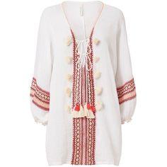 coolchange Women's Jennifer Sundown Dress (€175) ❤ liked on Polyvore featuring dresses, robe, tops, stripe, long striped dress, stripe dresses, white embroidered dress, embroidered peasant dress and long dresses