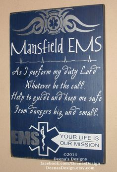 EMT/Paramedic Wall Art, EMS Decor, Distressed Wall Decor, Custom Wood Sign for EMTs - As I Perform My Duty