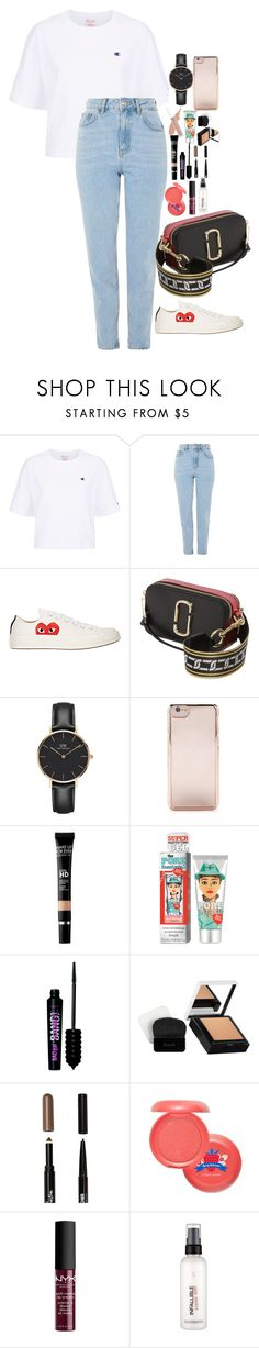 """Untitled #5303"" by veronicaptr ❤ liked on Polyvore featuring Champion, Topshop, Comme des Garçons, Marc Jacobs, Daniel Wellington, Forever 21, MAKE UP FOR EVER, Benefit, Maybelline and NYX"