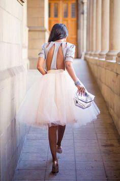 White Plain Draped Grenadine New Fashion Latest Women Puffy Tulle High Waisted Knee Length Adorable Tutu Skirt - Skirts - Bottoms Passion For Fashion, Love Fashion, Fashion Women, Fashion 2014, White Fashion, Dress Skirt, Dress Up, Waist Skirt, Dress Shoes