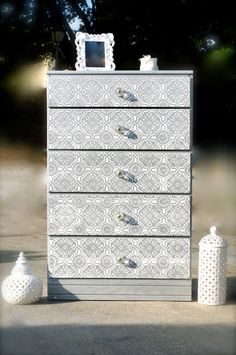 Silver 5 drawer dresser by LMODesignGroup on Etsy, $225.00