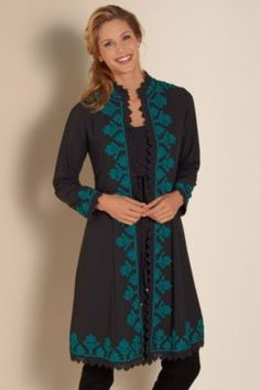 Padma Duster - Georgette Duster, Black Duster Jacket, Lightweight Duster | Soft Surroundings Outlet