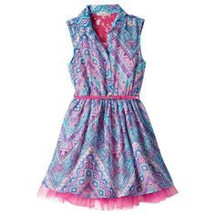 Knitworks Girls Belted Shirt Chiffon Dress Blue pink size 16 NEW 16.99 http://www.ebay.com/itm/-/232150186043?