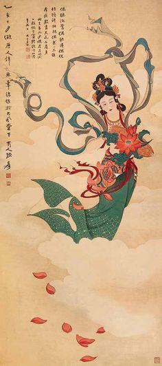 張大千  擬唐人壁畫筆法                       Zhang Daqian (1899-1983)