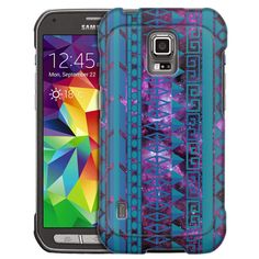 Samsung Galaxy S5 Active Aztec Vertical Blue Aqua on Nebula Slim Case