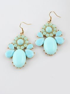 Blue Gemstone Gold Drop Dangle Earrings US$5.60