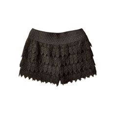 Black Layered Crochet Lace Shorts ($25) via Polyvore