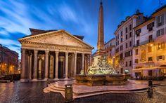 Pantheon, Rome, night, square, fountain, Marco Vispanio Agrippa, Italy