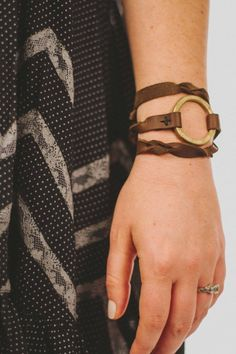 Ethiopian Leather Wrap Bracelet | WonderfullyMade has partnered with Parker Clay to create this unique premium leather wrap bracelet made of genuine Ethiopian leather and up cycled artillery. Each bracelet sends one Ethiopian woman through a prostitution prevention training program.