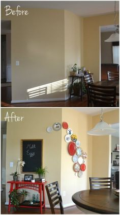 Whats Ur Home Story: Plate wall tutorial, DIY chalkboard from mirror
