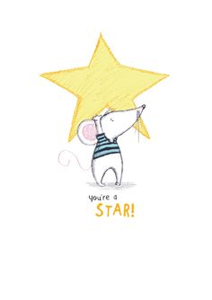 'You're a Star' Greeting Card, Watercolor Animals, Watercolor And Ink, Best Friend Drawings, Baby Illustration, Cute Rats, Hand Made Greeting Cards, My Art Studio, Collaborative Art, Animal Sketches