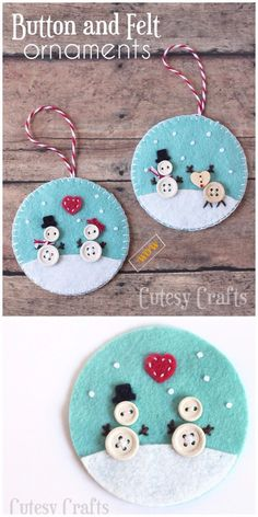 Christmas Button Crafts, Christmas Sewing Projects, Christmas Buttons, Christmas Ornament Crafts, Felt Christmas Decorations, Christmas Crafts, Felt Ornaments, Button Ornaments Diy, Button Crafts For Kids